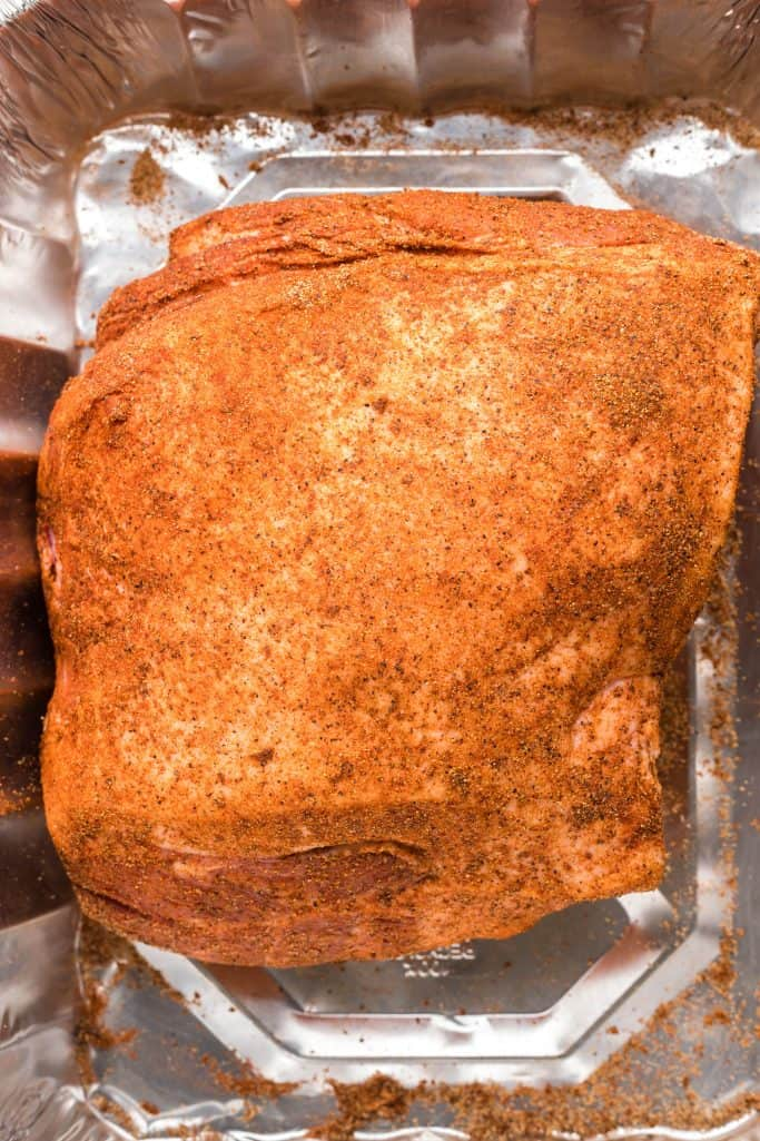 Dry rub rubbed over pork shoulder