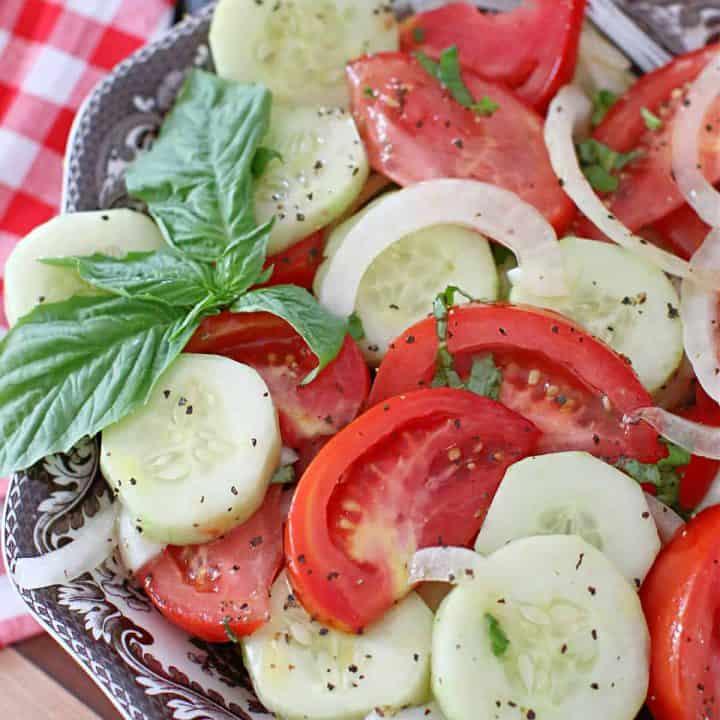 Marinated Tomato Onion and Cucumber Salad recipe