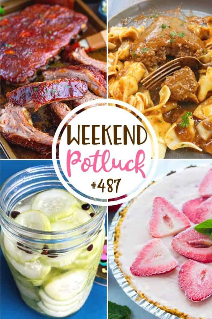Weekend Potluck: Strawberry Icebox Pie, Swedish Cucumbers, Slow Cooker Ribs, Crock Pot Hamburger Steaks & Gravy