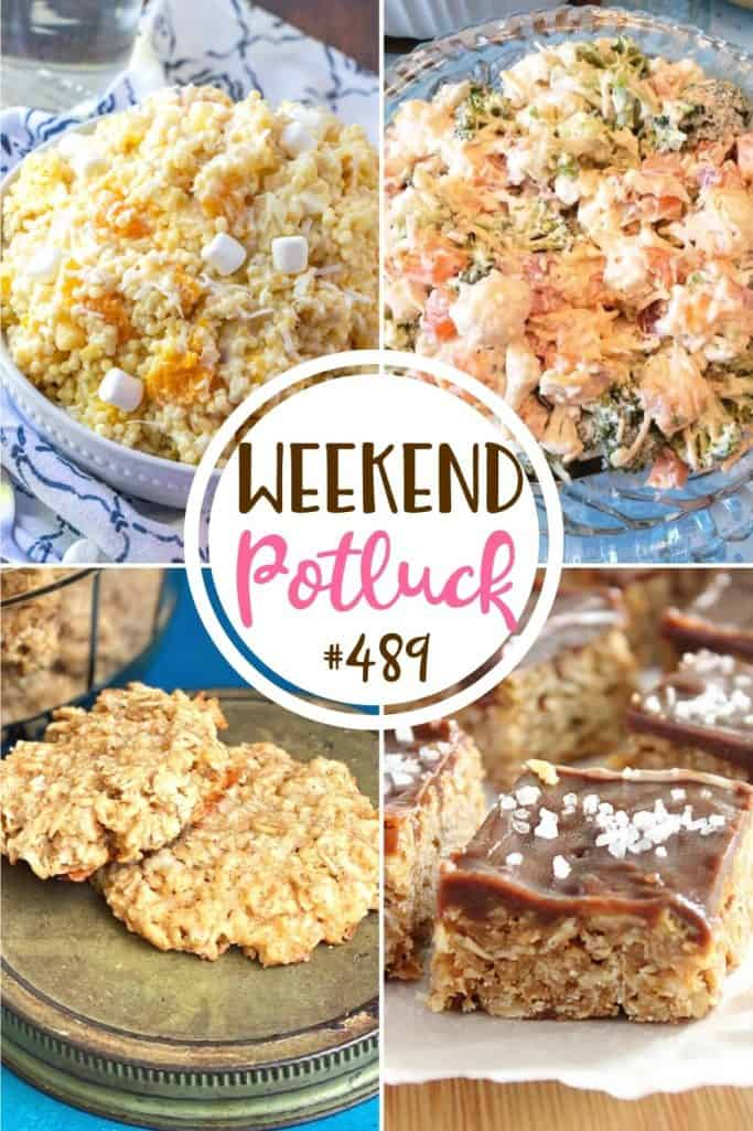 Weekend Potluck featured recipes include: Mrs. Obinger's Coconut Cookies, O'Henry Bars, Creamy Broccoli Cauliflower Salad, and Frog Eye Salad