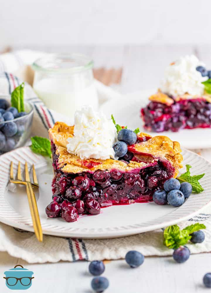 Finished slice of Homemade Blueberry Pie on white plate topped with whipped cream.