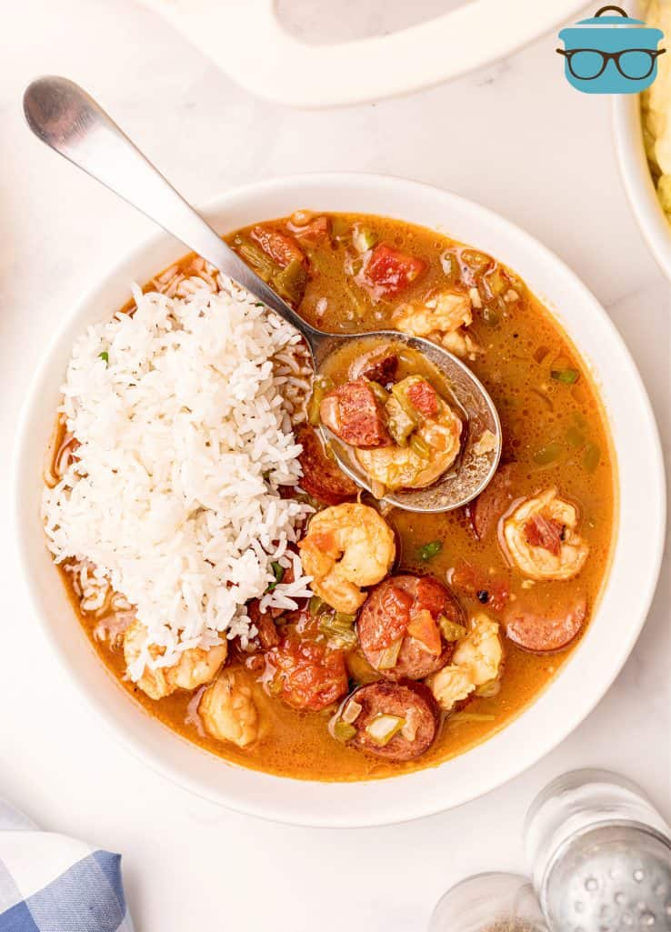 Overhead of bowl of Southern Shrimp Gumbo with rice