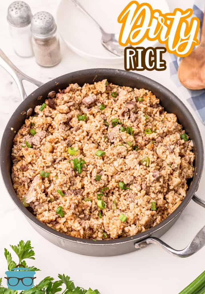 Photo of finished Dirty Rice in a large skillet.