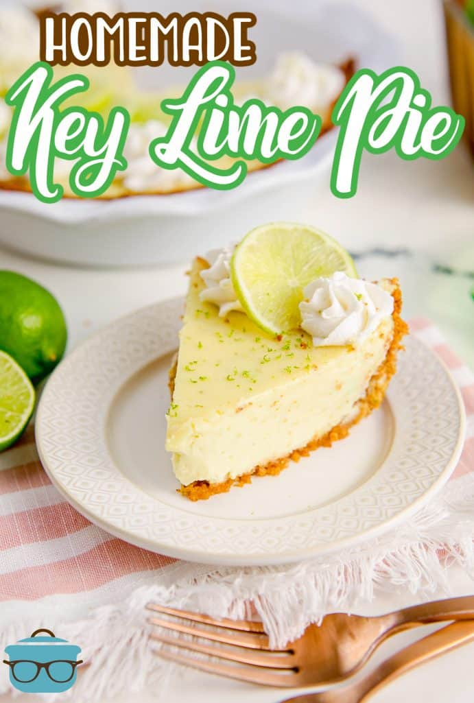 Pinterest image of Homemade Key Lime Pie on white plate with whipped cream swirls and lime slice