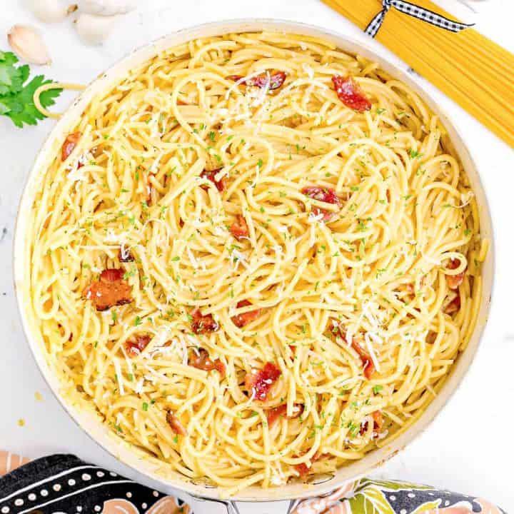 Square image of Bacon Spaghetti Carbonara overhead