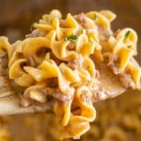 Square image of Stroganoff on spoon showing off finished dish