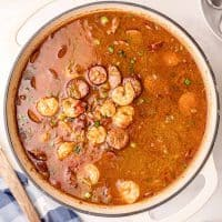 Square image of overhead photo of Southern Shrimp Gumbo in dutch oven