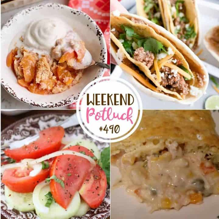Weekend Potluck featured recipes: Kids Favorite Chicken Pot Pie, Double Decker Tacos, Old-Fashioned Peach Cobbler and Marinated Tomato Cucumber Salad.