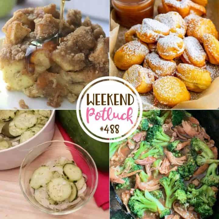 Weekend potluck recipes: Cucumber Onion Salad, Overnight French Toast Casserole, Banana Funnel Cake Bites, Slow Cooker Teriyaki Chicken