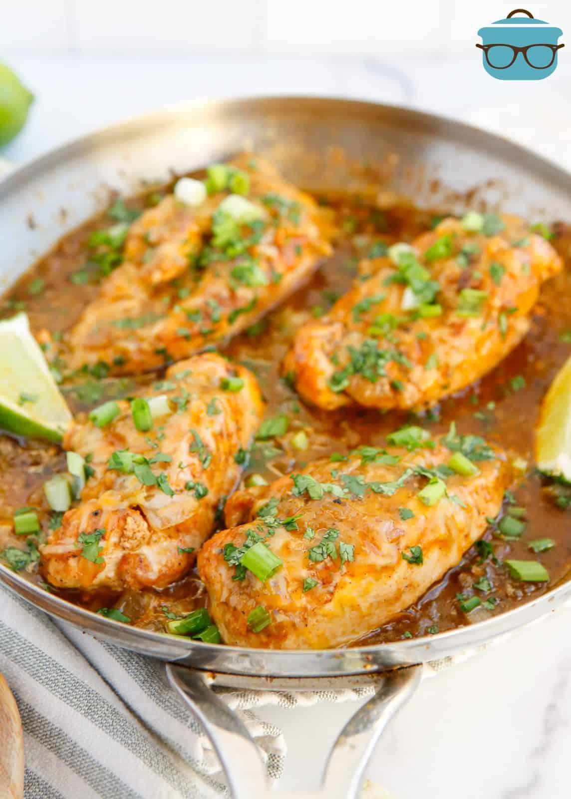 Finished Salsa Verde Chicken in skillet.