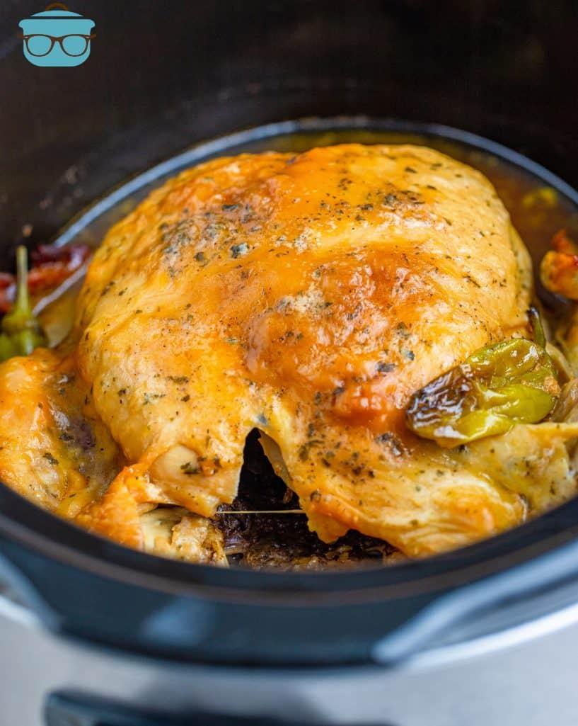 Crock Pot Mississippi Roast Chicken in crock pot.