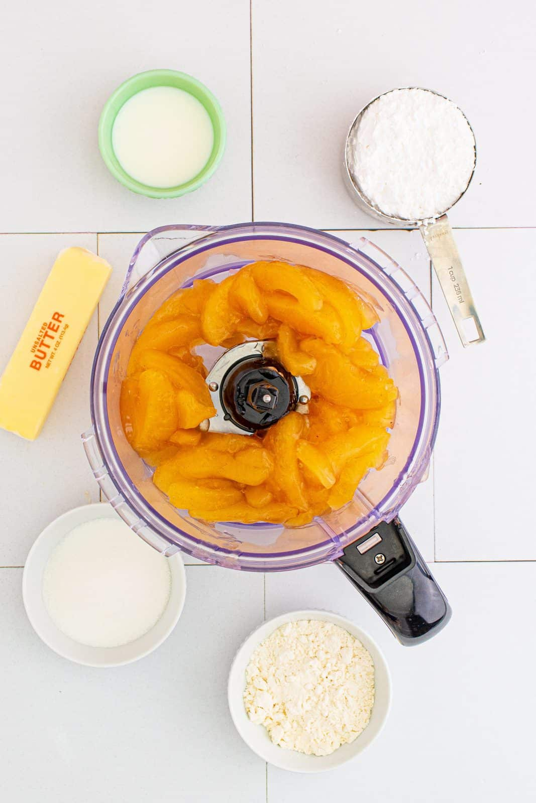 Apple pie filling added to food processor.