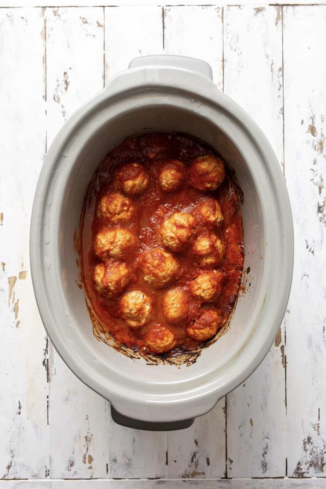 Finished Turkey Meatballs in crock pot.