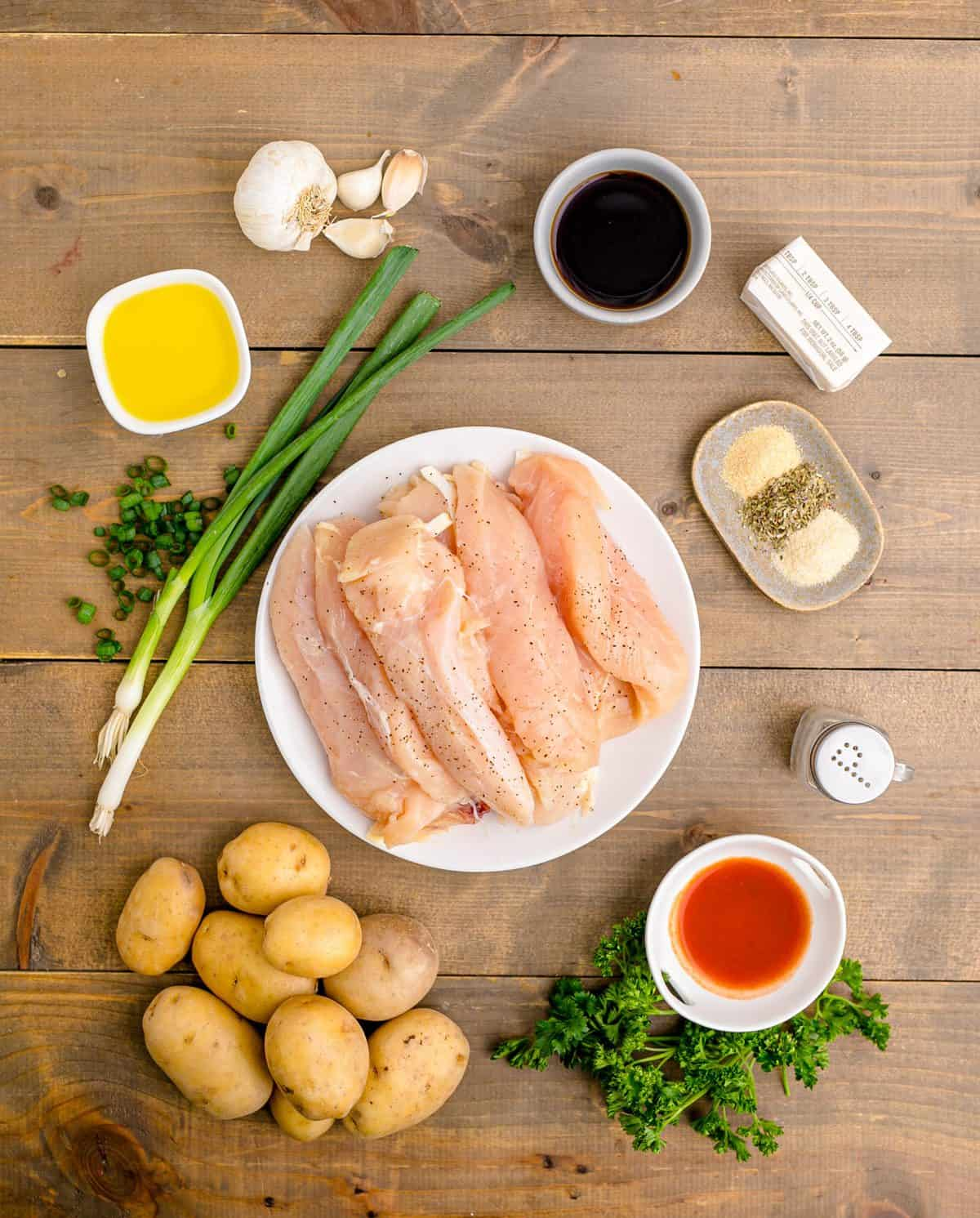 Ingredients needed to make Garlic Butter Chicken and Potatoes.