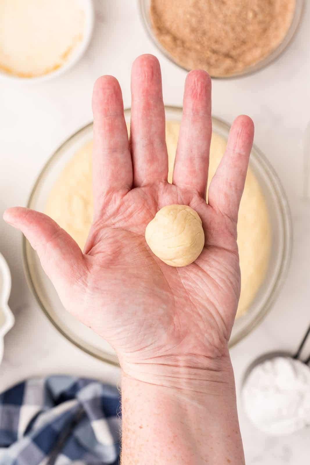 Dough rolled into balls.