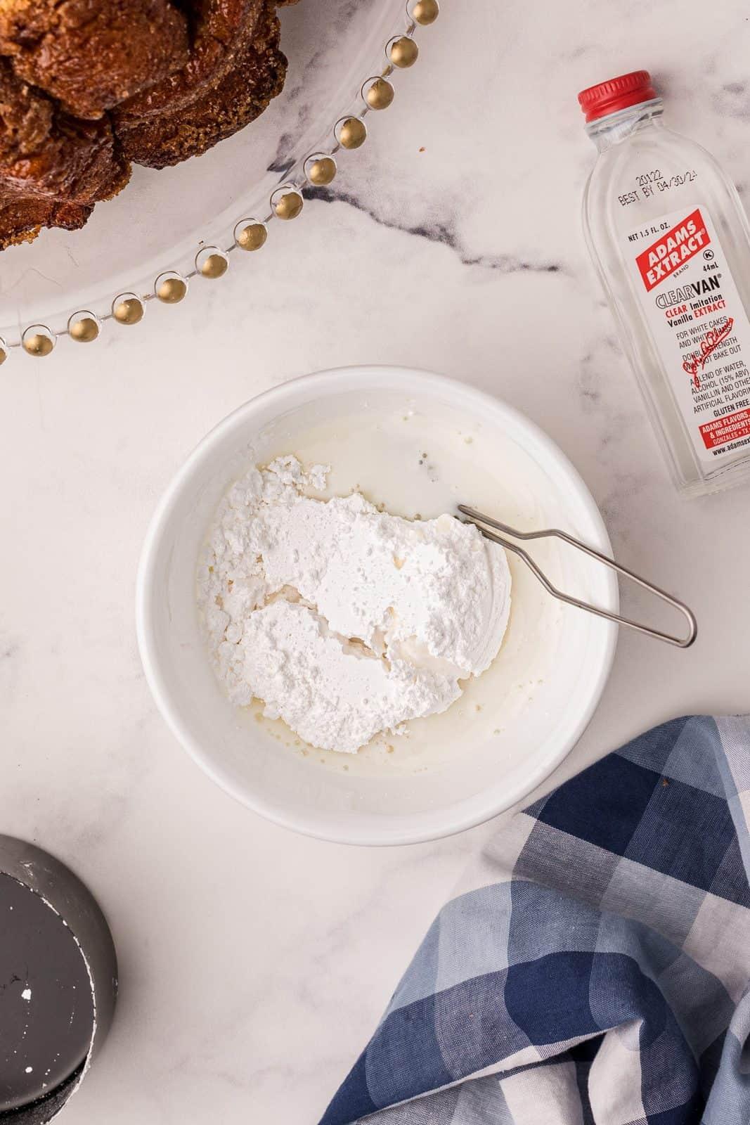 Glaze ingredients in bowl.
