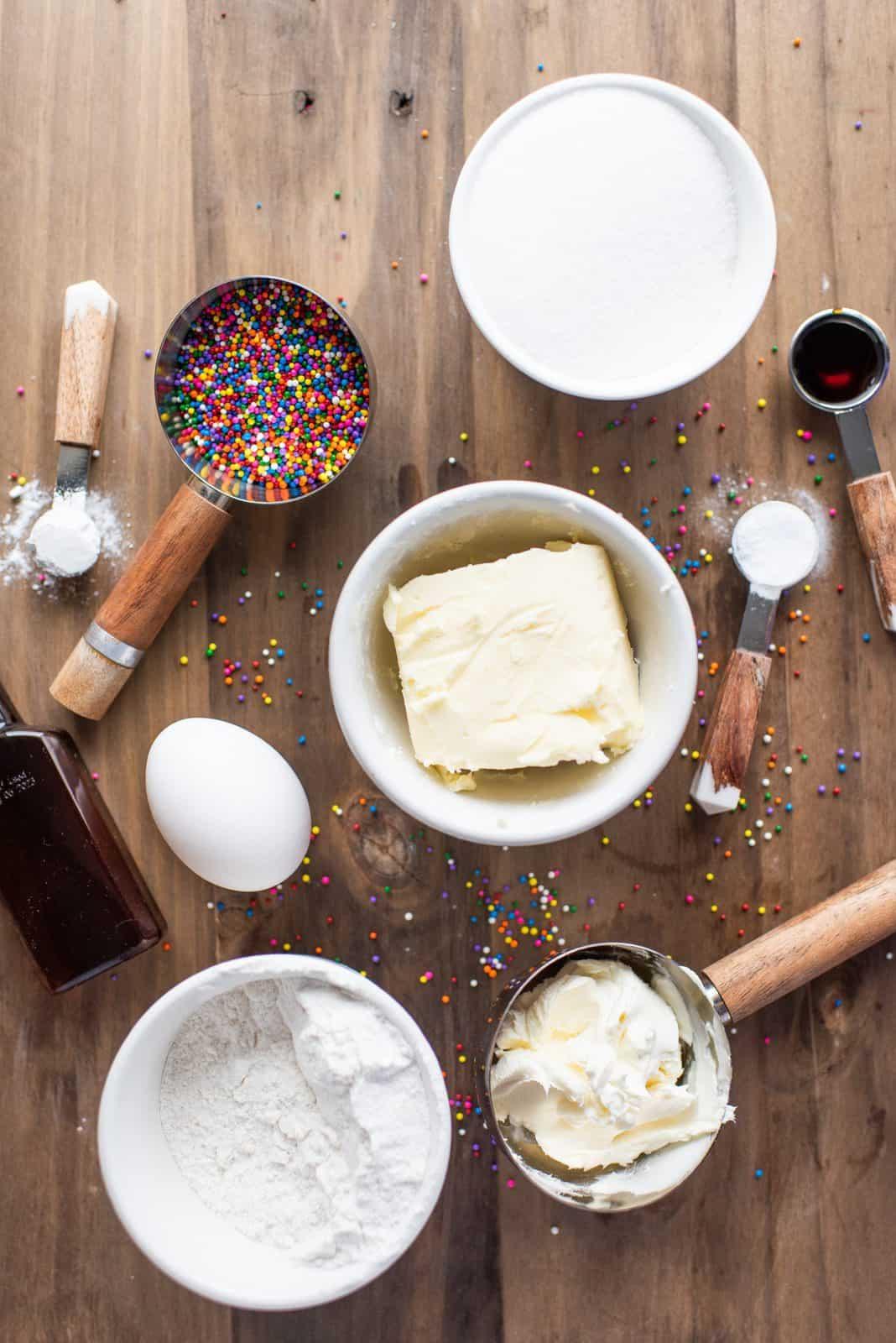 Ingredients needed: all-purpose flour, baking powder, baking soda, salted butter, granulated sugar, cream cheese, egg, vanilla extractand nonpareils.