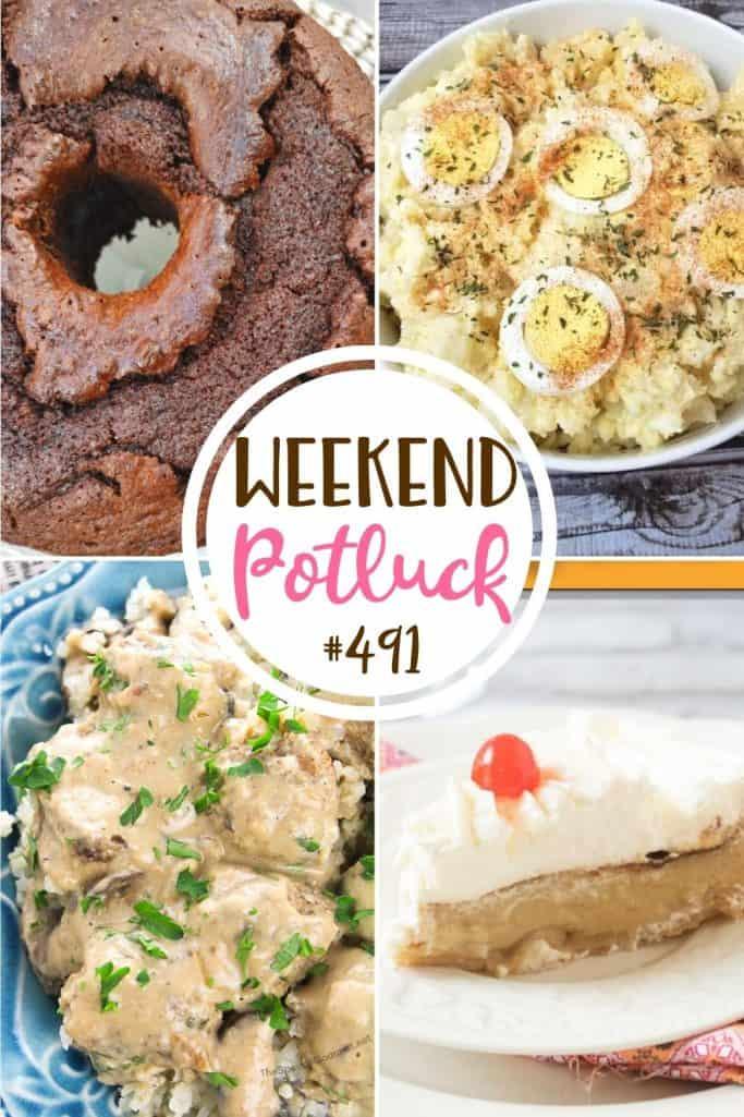 Weekend Potluck recipes include: Potato Salad, Butterscotch Custard Pie, Gourmet Meatball Stroganoff and Chocolate Pound Cake