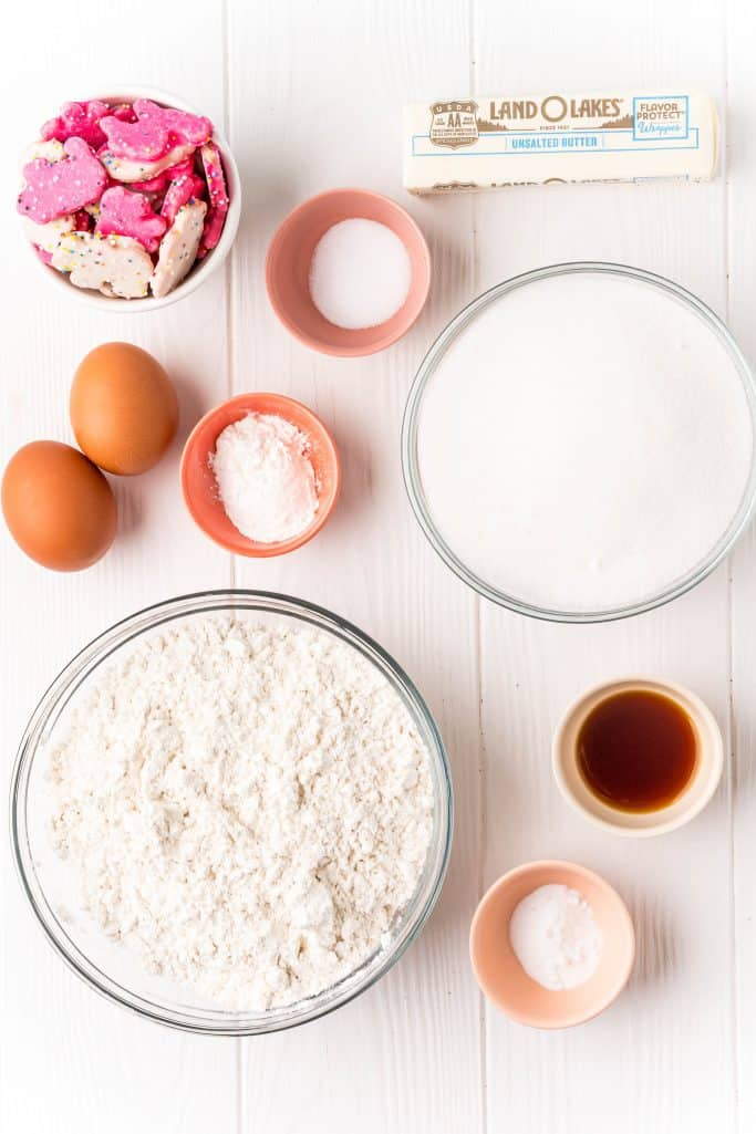 Ingredients needed: unsalted butter, granulated sugar, eggs, vanilla extract, all-purpose flour, cornstarch, baking soda, salt, circus animal cookies and rainbow nonpareils.