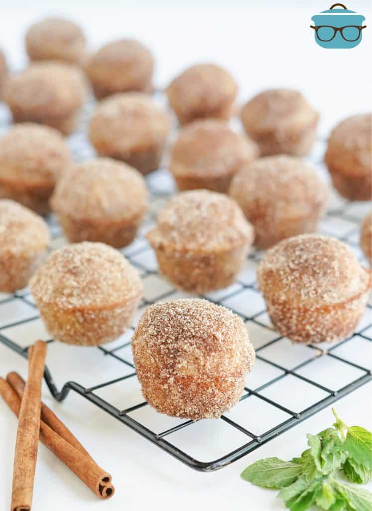Apple Cider Donut Holes on wire rack.