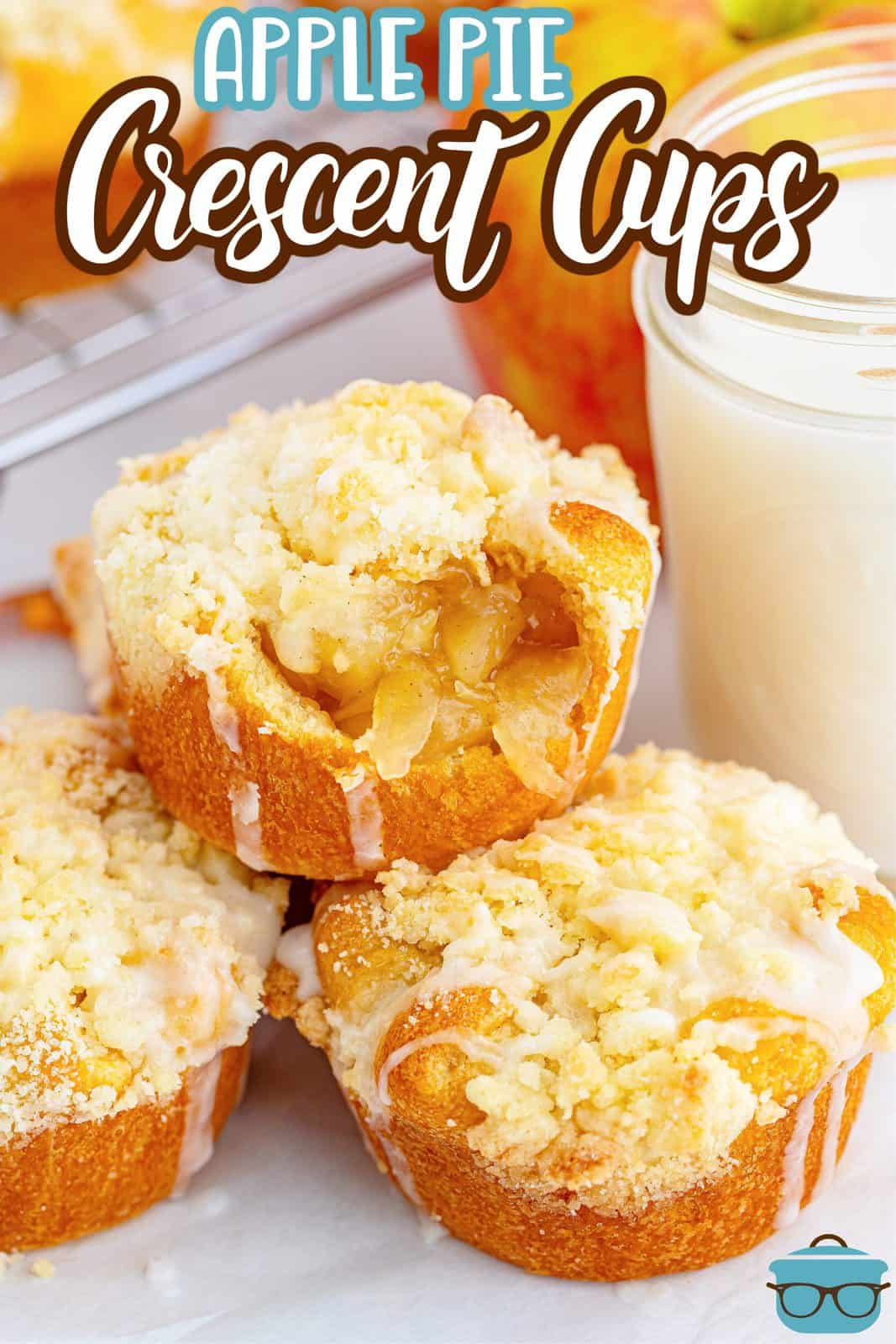 Pinterest image of Easy Apple Pie Cup Recipe stacked and glazed with bite taken out of one.