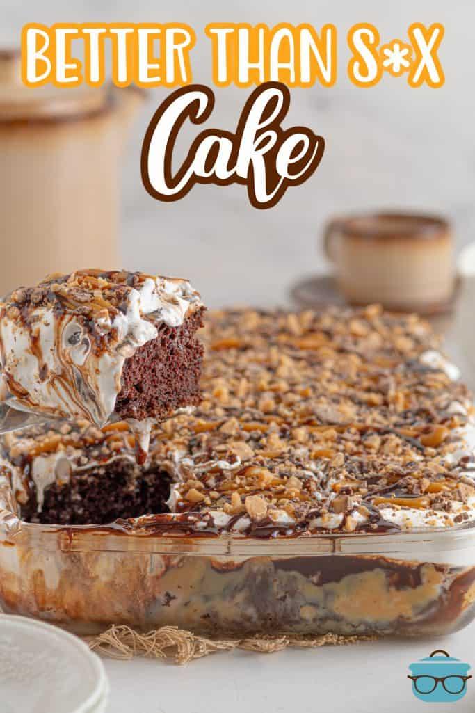 Pinterest image with cake server holding up slice of cake.
