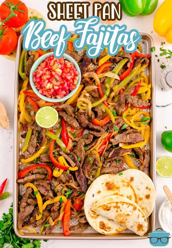 Pinterest image of Sheet Pan Beef Fajitas overhead mixed together.