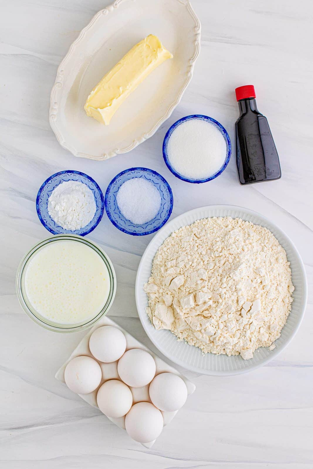 Ingredients needed: unsalted butter, buttermilk, eggs, vanilla extract, all-purpose flour, granulated sugar, baking powder.