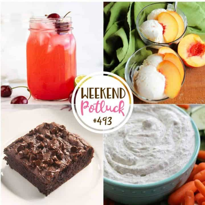 Weekend Potluck recipes: Fresh Cherry Limeade, 4-Ingredient Peach Ice Cream, Chocolate Pudding Snack Cake and Garden Fresh Dill Dip!
