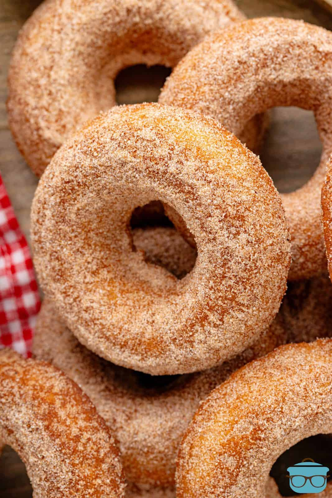 Close up of layered Baked Apple Cider Donuts.