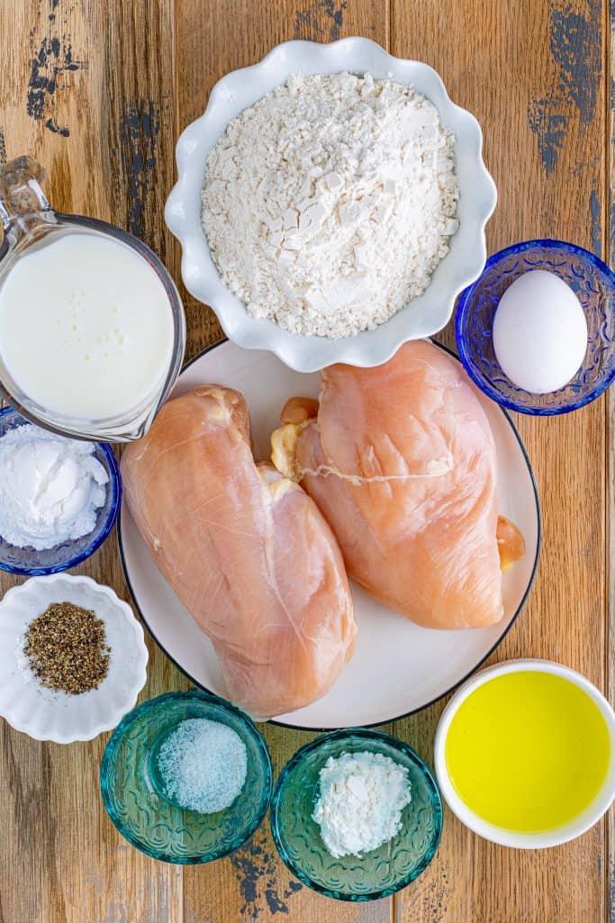 Ingredients needed: Chicken breasts, buttermilk, egg, pickle juice, all-purpose flour, powdered sugar, cornstarch, salt and pepper.