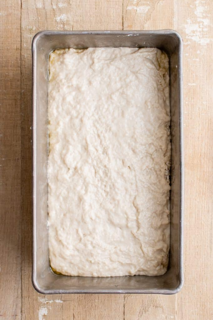 Batter spread in loaf pan.