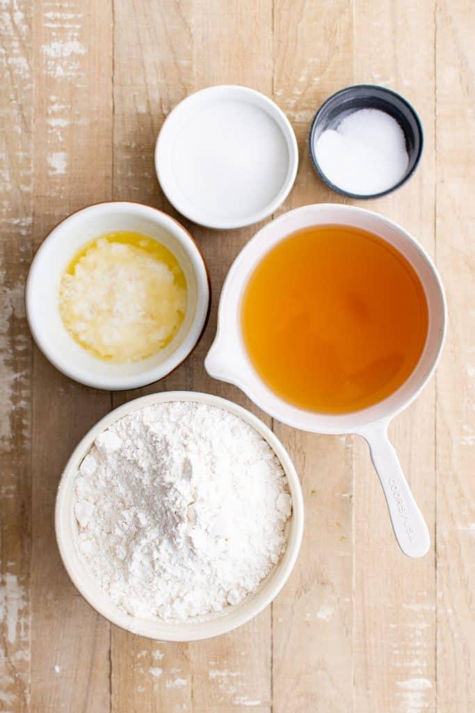 Ingredients needed: all-purpose flour, sugar, baking soda, salt, beer and butter