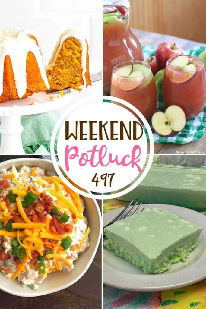 Weekend Potluck featured recipes: Lime Jell-o Salad, Air Fryer Pumpkin Cake, Loaded Baked Potato Dip and Autumn Harvest Punch