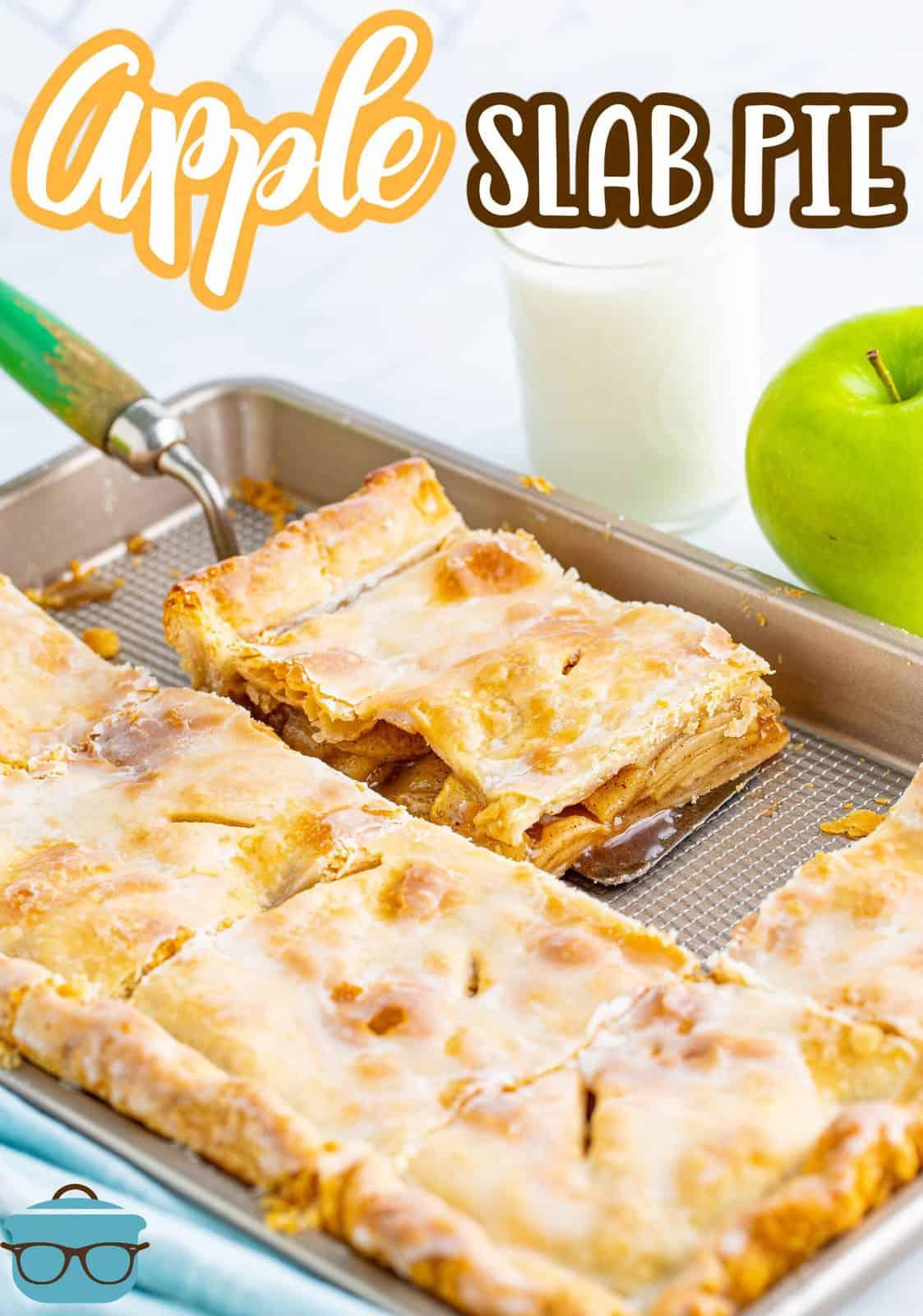 Pinterest image of a slice of Apple Slab Pie Recipe on server.
