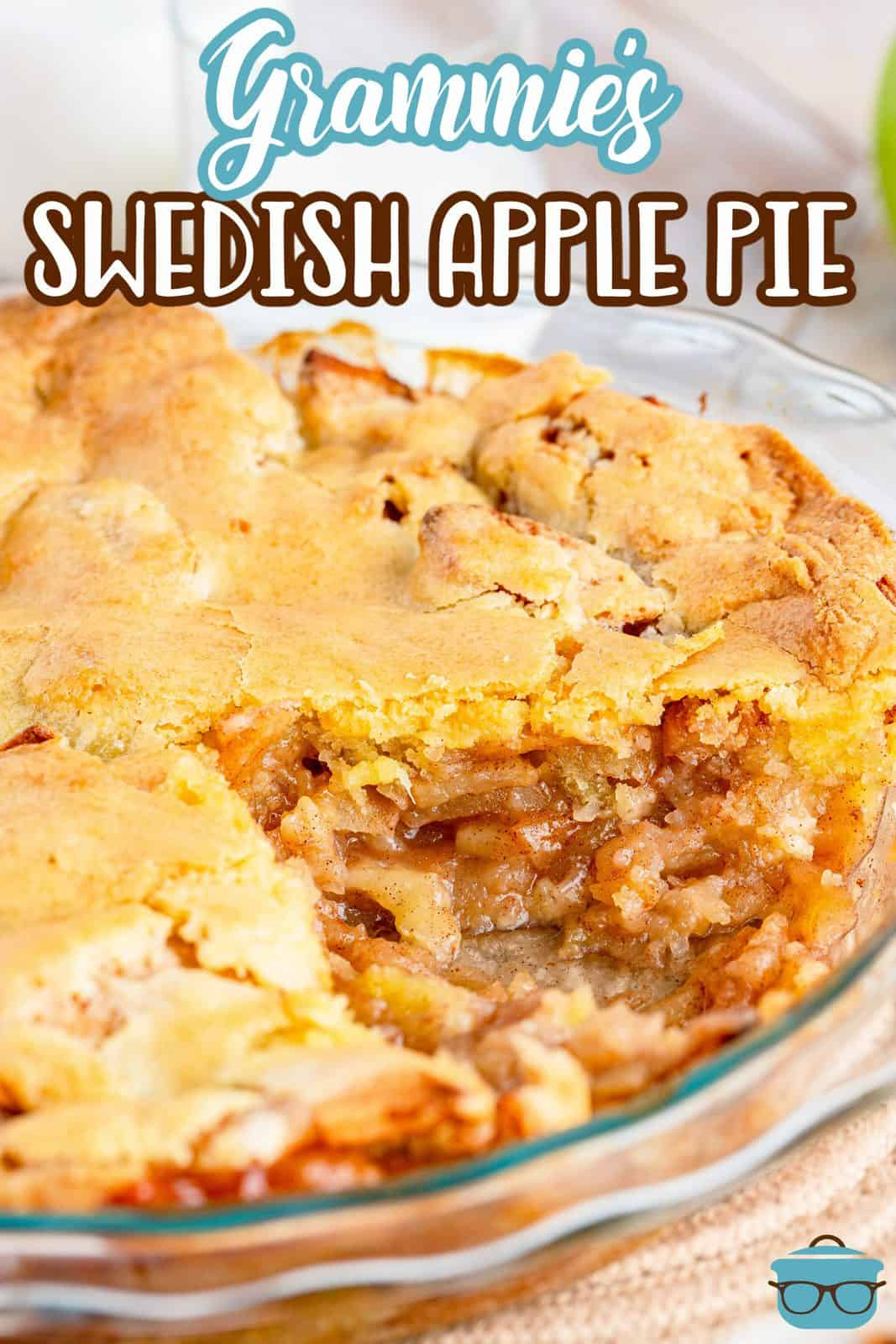 Pinterest image of Swedish Apple Pie with slice removed.