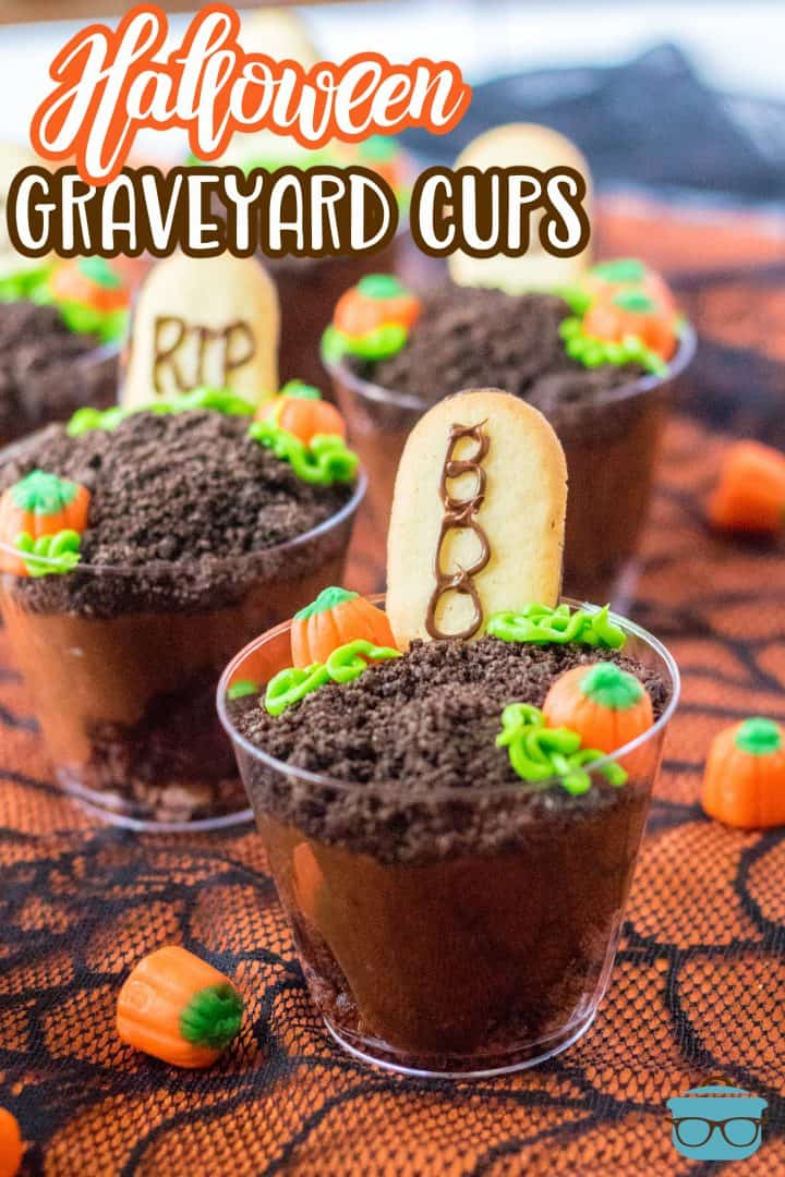 Close up of Halloween Graveyard Cups shown on orange and black lace.