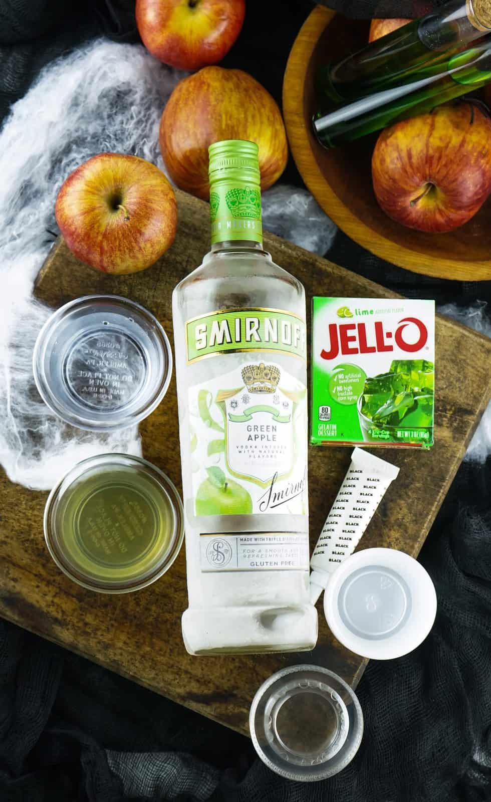 Ingredients needed: ime jell-o, boiling water, green apple vodka, lime juice and black gel food coloring.