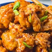 Square image of finished and garnished General Tso's Chicken.