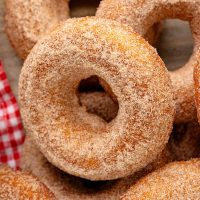Close up of one Baked Apple Cider Donut showing the cinnamon sugar topping.