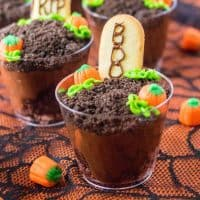 Square image of Halloween Graveyard Cups decorated.