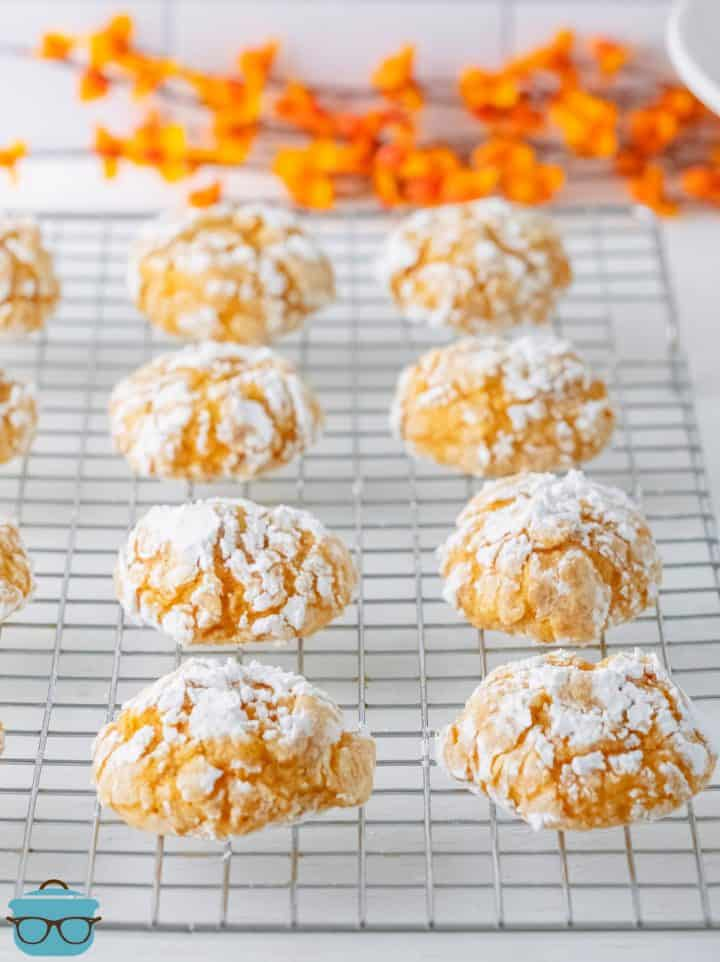 Finished Pumpkin Crinkle Cookies on wire cooling rack.