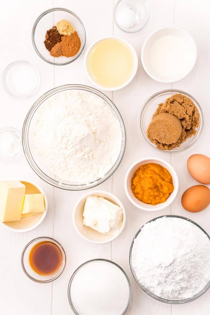 Ingredients needed: unsalted butter, all-purpose flour, granulated sugar, dark brown sugar, eggs, pumpkin puree, vegetable oil, vanilla extract, baking powder, baking soda, salt, cinnamon, nutmeg, cloves, ginger, cream cheese and heavy cream.