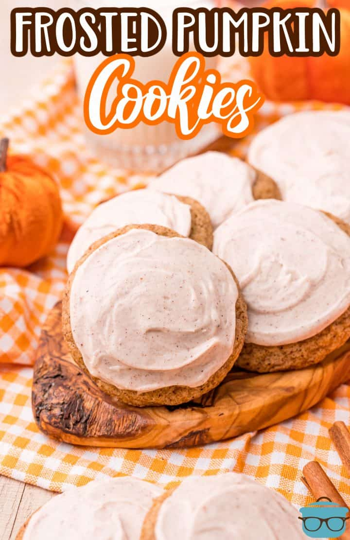 Cookies layered on wooden platter Pinterest image.