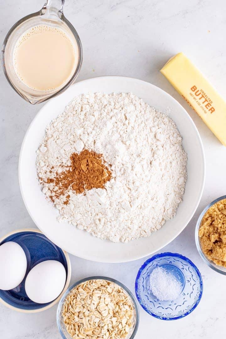 Dry ingredients in white bowl.