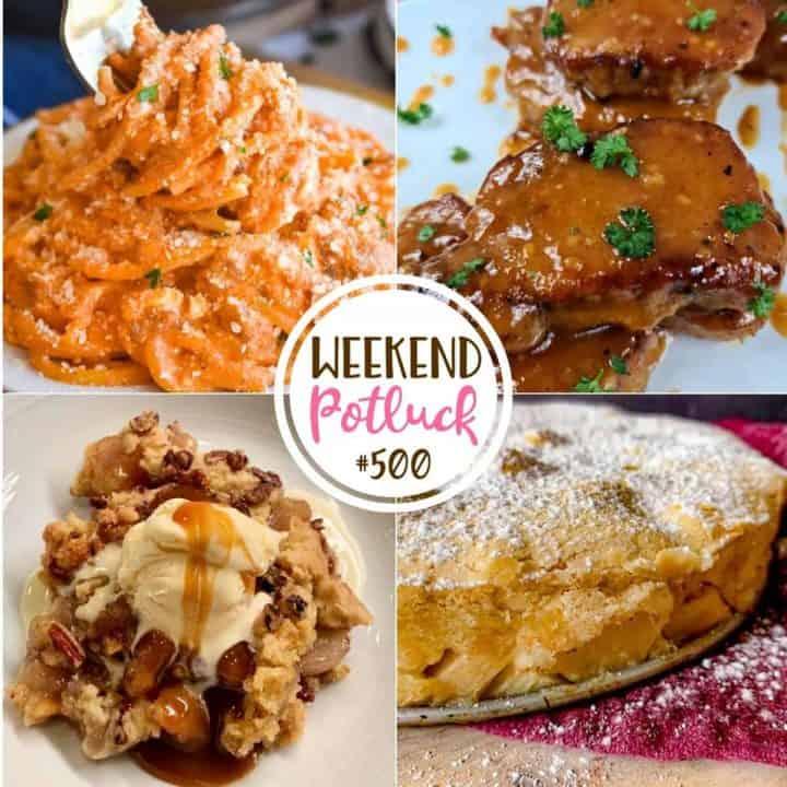 Weekend Potluck featured recipes: Magic Apple Cake, One Pot Million Dollar Spaghetti, 1000 Island Tangy Pork Chops and Easy Apple Dump Cake