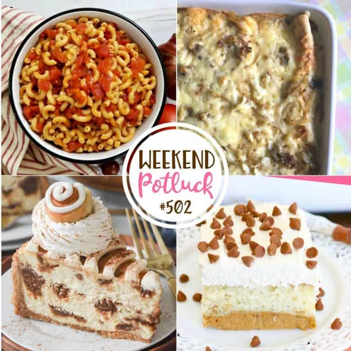 Weekend Potluck recipes include: Sausage Gravy Breakfast Enchiladas, Cinnamon Roll Cheesecake, Macaroni and Tomatoes and Magic Pumpkin Cake!
