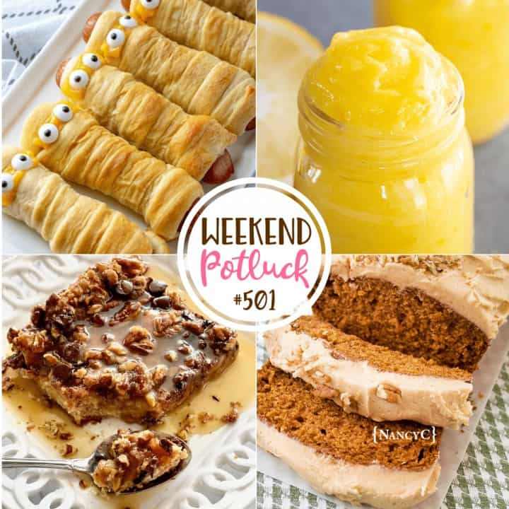 Weekend Potluck: Homemade Thick Lemon Curd, Chocolate Brioche Bread Pudding, Pumpkin Bread with Pumpkin Buttercream Frosting and Mummy Dogs!